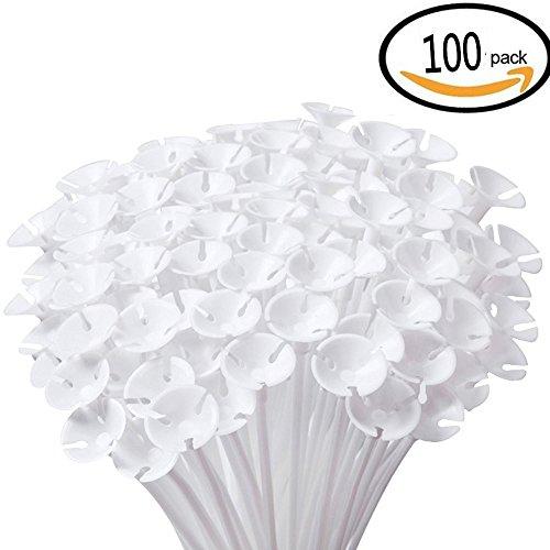 Ballon Halter, woopower 100Packungen Kunststoff Ballon Halter Sticks mit Cups Anzug für Party, Festival, Hochzeit, Geburtstag Appliance Decor, plastik, weiß, 32cm/12.6