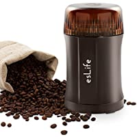 esLife 200W Coffee and Spice Electric Grinder with Twin Cutting 304 Stainless Steel Blades, Safety Switch and Multipurpose Design for Coffee, Nuts, Spices and More