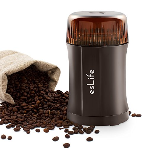 esLife 200W Coffee and Spice Electric Grinder with Twin Cutting 304 Stainless Steel Blades, Safety Switch and Multipurpose Design for Coffee, Nuts, Spices and More 512ajgJAYtL
