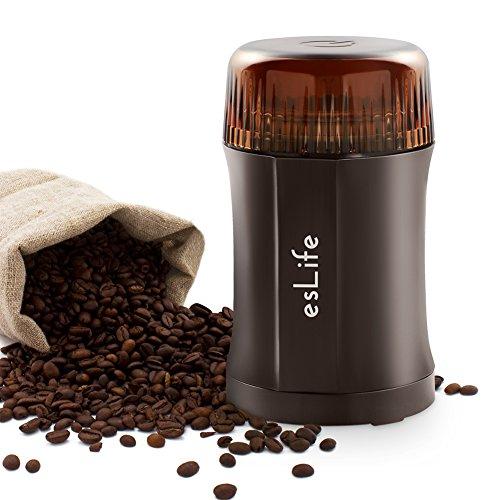 esLife Elektrische Kaffeemühle 200W Tragbar Mini kaffeemuehle mit 304 Edelstahl-Klinge, Sicherheitsschalter und Multipurpose Design für Kaffeebohnen Nüsse Gewürze Getreide