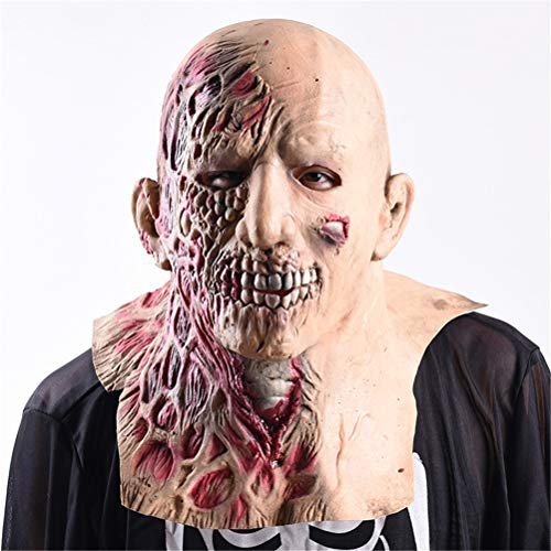 Jingya Zombie Maske Halloween Spukhaus Requisiten Scary Bloody Mask Maskerade Latex Kostüm Party Adult Toy (Makeup-tipps Skelett Halloween)