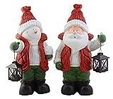 Weihnachts Deko Figuren gross Schneemann oder Weihnachtsmann | mit Laterne für Teelicht | aus wetterbeständiger Kermamik | tolle Dekoration für Weihnachten | für innen und außen | 49 cm hoch | (Schneemann XL)
