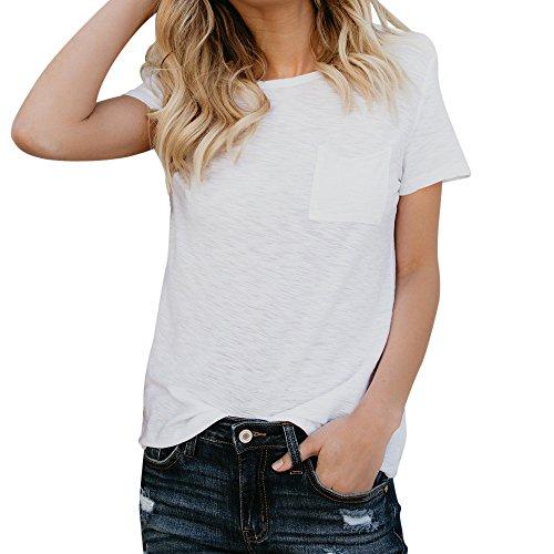 Longra Damen Basic T-Shirt Loose fit Baumwollmischung Reine Tasche Kurzarm Crop Top Bluse Sportshirts Sommer Tops Elegante Oberteile -