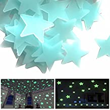 200 Pcs étoile phosphorescentes Stickers Muraux fluorescents Glow nuit lumineux phosphorescentes Déco Espace bébé Chambre de bébé enfant (3.8cm -200Pcs)(Bleu)