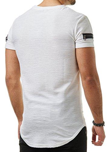 EightyFive Herren T-Shirt Basic Regular Gesteppt Gerippt Zipper Schwarz Weiß Beige EFT17 Weiß