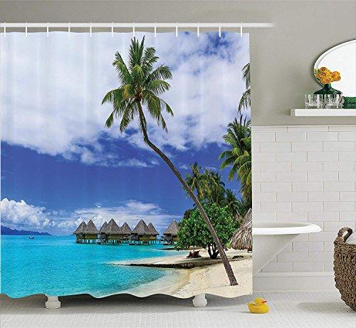 GAOFENFFR Tropical Decor Duschvorhang Set Überwasserbungalows von Tropical Resort Insel Bora Bora Pazifik Panorama Badezimmerzubehör Grün Blau Weiß -