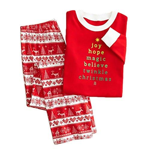 ädchen-Weihnachts Familie Passende Pyjamas Nachtwäsche Outfits gestreiftes Langarm Bluse Tops + Pants Female Set Größe 10 / 11T (Kindern Passende Weihnachts Pyjamas)