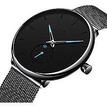 e01863059572 Relojes Negros para Hombre Reloj de Malla Impermeable de Acero Inoxidable para  Hombres Reloj Elegante de