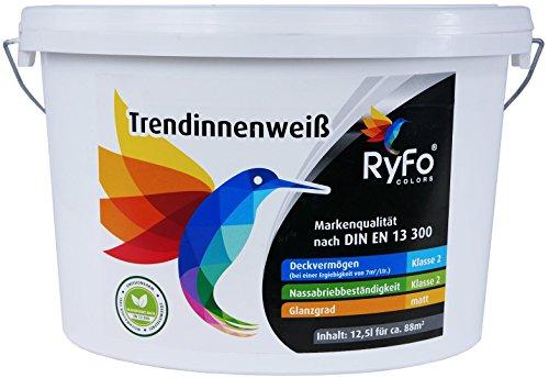 RyFo Colors Trendinnenweiß 12,5l (Größe wählbar) - hochwertige zertifizierte Wandfarbe, weiß, Deckkraft Klasse 2, scheuerbeständig, sehr ergiebige Innen-Dispersion, geruchsarm, lösemittelfrei