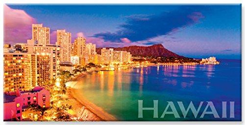 Pacifica Island Art Panorama Kühlschrank Magnet mit hawaiianischem Motiv - Waikiki Pink by Monica & Michael Sweet