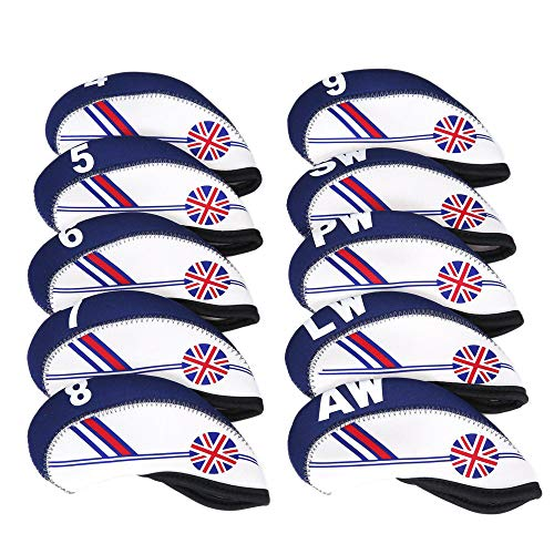 MamimamiH Golfschlägerhauben aus Neopren, mit britischer Flagge, Blau, Weiß, 10 Stück