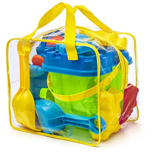 Komplettes Set Strandspielzeug in wiederverwendbarer Tasche mit Reißverschluss, verschiedene Farben