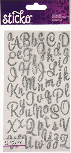 Unbekannt Sticko Sweetheart Silber Script Alphabet Aufkleber