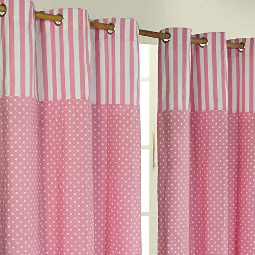 Homescapes Kindervorhang Mädchen Kinderzimmer Ösenvorhang Dekoschal Polka Dots 2er Set rosa weiß 137 x 182 cm (Breite x Länge je Vorhang) 100% reine Baumwolle - Baby-mädchen-kinderzimmer-fenster-vorhang