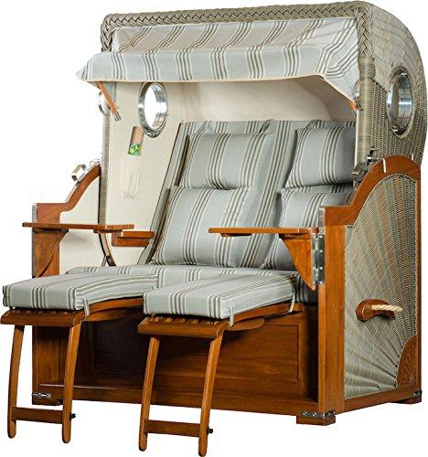 Mahagoni Strandkorb 2,5 Sitzer Baltikum Bullaugen elegant Grau gestreift 140cm breit inklusiv Rollen und Verstellhilfe – Komplettangebot
