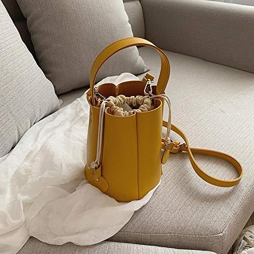 CHAOBAOBAO Frauen Bucket Bag Nische Tasche Frauen Tasche Wild Umhängetasche Mode Kordelzug Lässig Persönlichkeit Handtasche, Gelb