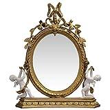 Tisch Spiegel Barock Stil Goldfarbe Stand Spiegel Schminktisch Kommode Antikstil