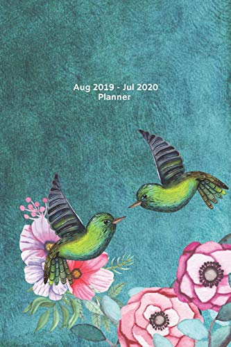 Floral Planner 2019-2020 Academic Diary Week to Page View.: Vintage Style design 2 birds meet with green cover. Gift idea for women, colleagues, friends, teachers, boss