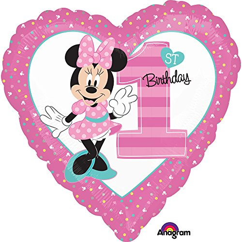 Amscan International – 3435001 'Minnie Mouse 1st cumpleaños' estándar Foil Balloon