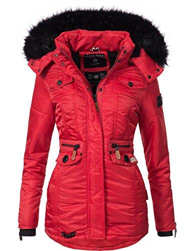 Navahoo Damen Winter-Jacke Winter-Mantel Steppmantel Schätzchen (vegan hergestellt) Rot Gr. S