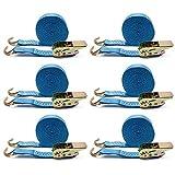 6X amarre correa Spanngurt con tensor de carraca trinquete correa tensora 6 m Camiones 400/800 kg azul