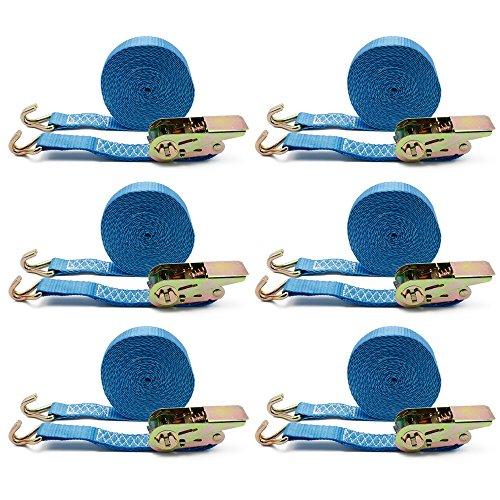 everfarel 6X Ratschengurt Zurrgurt Spanngurt mit Ratsche Spanngurt 6m LKW 400/800 kg Blau