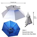 Magideal Outdoor Umbrella Hat Head Cap Brolly Fishing Camping Hiking Silver W Blue