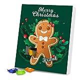 Adventskalender mit Namen Frank und Motiv mit Lebkuchenmann und Mistelzweigen in grün | Gefüllt mit Schokolade | Weihnachts-Kalender