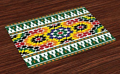 ABAKUHAUS marokkanisch Platzmatten, Vibrierendes altes Mode-Indie-Afrikaner-Stammes- Muster mit Osteinflüssen drucken, Tiscjdeco aus Farbfesten Stoff für das Esszimmer und Küch, Gelb Grün