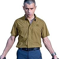 FREE SOLDIER Soldado Libre al Aire Libre Hombres Manga Corta Polo Camiseta Cordura Tela de Secado Rápido Camiseta, Hombre, Color Marrón, Tamaño Small