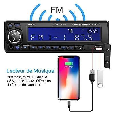 Autoradio Bluetooth Main Libre Kimood Radio Voiture avec Grand écran et Puissance de Sortie 60 * 4W, Supporte 18 Stations de Mémoire/MP3/AUX/WMA/Lecteur FM/Télécommande de Kimood