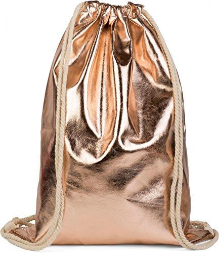 styleBREAKER Turnbeutel im Metallic Look, Sportbeutel, Rucksack, Beutel, Unisex 02012117, Farbe:Apricot metallic