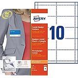 AVERY - Boite de 50 porte-badges combi pince + épingle en plastique souple transparent, 50 inserts imprimables fournis, Forma