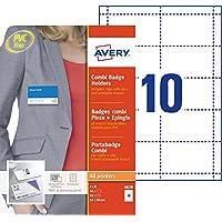 AVERY - Boite de 50 porte-badges combi pince + épingle en plastique souple transparent, 50 inserts imprimables fournis…