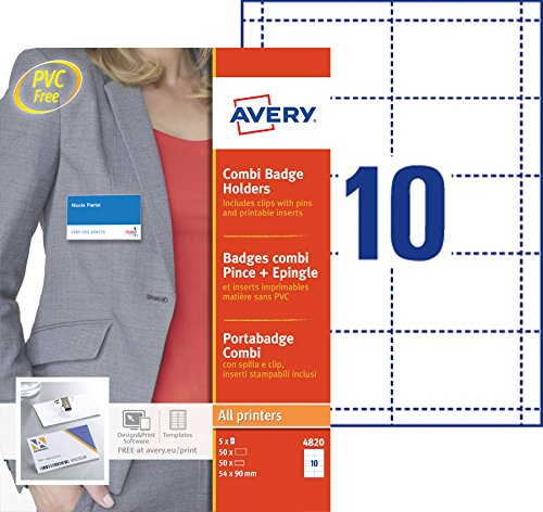 AVERY - Boite de 50 porte-badges combi pince + épingle en plastique souple transparent, 50 inserts imprimables fournis, Format 90 x 54 mm, Impression laser / jet d'encre, (4820)