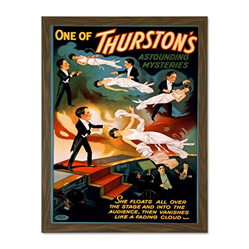 Doppelganger33 LTD Theatre Vaudeville Thurston Levitation Stage USA Vintage Large Framed Art Print Poster Wall Decor 18x24 inch Supplied Ready to Hang
