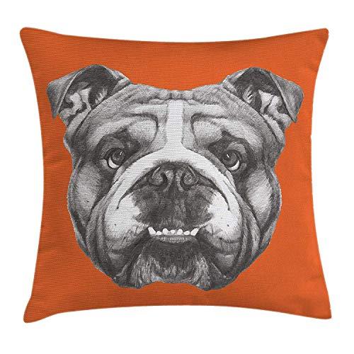wwoman Hunde-Kissenbezug, handgezeichnetes Porträt der englischen Bulldogge, Retro-Tiere, lustig, dekorativ, quadratisch, 45 x 45 cm, Orange/Warm Taupe