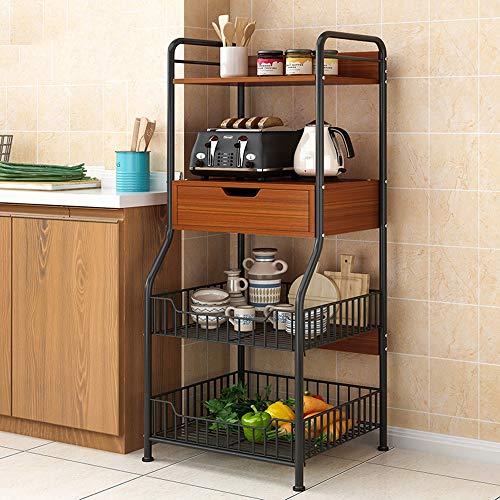 Mikrowellenregal, Stahlregal Lagerregal, Küchenboden Mehrschichtige Rack, Geschirrständer Einfache Lagerregal Ofen Rack, Schwarz, 110 * 40 * 30 Cm Du hast es verdient
