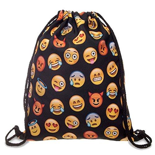 Beito Leinwandbild New QQ Printing Emoji-Rucksack Travel, süße Gril Schule Rucksack, Schwarz, As Shown