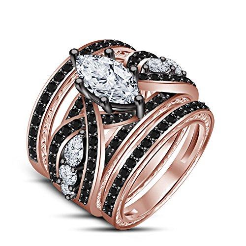 Moda Vorra 14 K chapado en oro rosa 925 Plata Blanco y Negro CZ anillo de compromiso trío cuchufleta