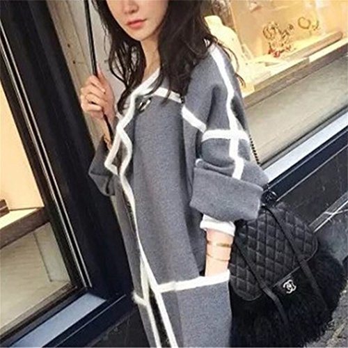 Honghu Loose Manches Longues Collier V Garder au Chaud Pull Femme Casual Pullover Sweater Gris