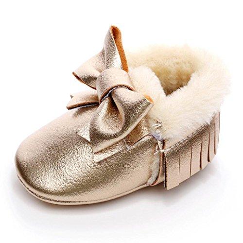 18 Babyschuhe Lauflernschuhe Manjedoura Criança Botas Meses Soft Manjedoura Sapatos Algodão Bowknot Ouro Botas 0 sola Sapatos Neve Longra Bebê a8graq