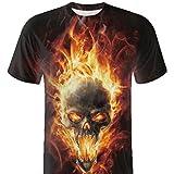 GreatestPAK Baumwolle T-Shirt Herren Schädel 3D Druck T-Shirts Kurzarm Bluse Tops Shirt,Gelb,XXXL