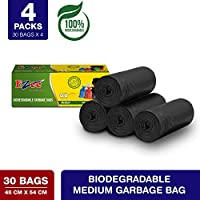 Ezee Bio-degradable Medium Garbage Bags/Trash Bags/Dustbin Bags (19 X 21 Inches) Pack of 4 (120 Pieces) 30 Pcs Each Pack