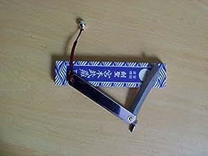 L(175mm)/Miyamoto Musashi/Couteau de poche de pliage japonais/SK acier/Chrome/Fabriqué au Japon/With Japanese suzu