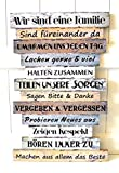 Schild Holz Nostalgie Familie Familienregeln Deko Bild Küche Vintage Shabby Spruch ca.33 x 51cm