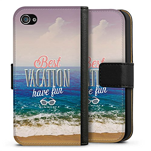 Apple iPhone X Silikon Hülle Case Schutzhülle Urlaub Meer Strand Sideflip Tasche schwarz