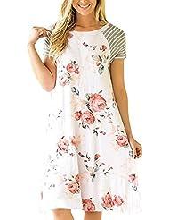 Sannysis vestidos verano mujer 2017 casual, vestidos playa mujer cortos (Blanco, XL)