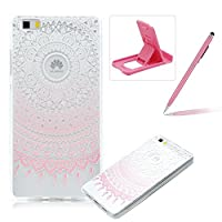 Huawei P8 Lite [Slim Fit] Clear Rubber Case,Huawei P8 Lite Ultra Thin Transparent Soft TPU Gel Back Case Cover,Herzzer Laconic [Colorful Printed] Soft Silicone Cover Visible Phone Skin Smooth Slim Shell Flexible Light Case Cover Scratch Resist Protection Protective TPU Bumper Jelly Case for Huawei P