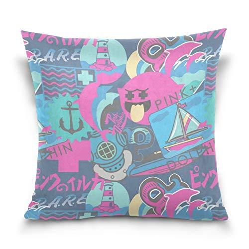 DDOBY Pink Dolphins Sea Pattern Dekokissen Cover Cases Home Dekorative Zipper Dekokissen Fall für Sofa Couch, 18 X 18 Zoll Pink Dolphin-fall